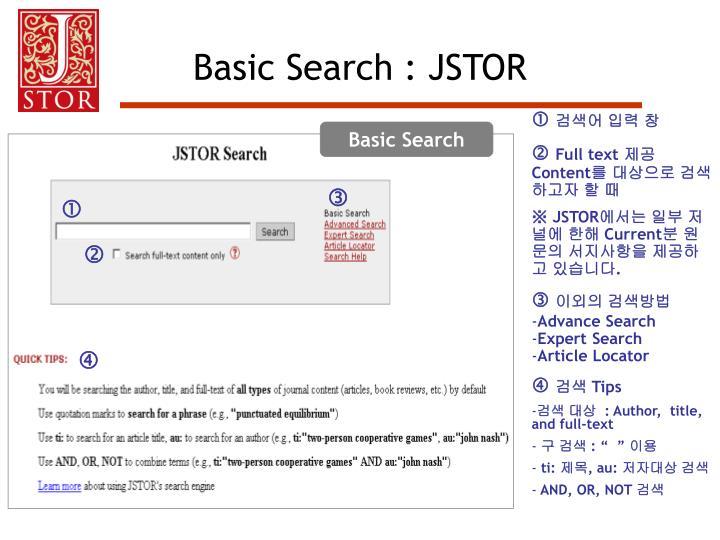 Basic Search : JSTOR