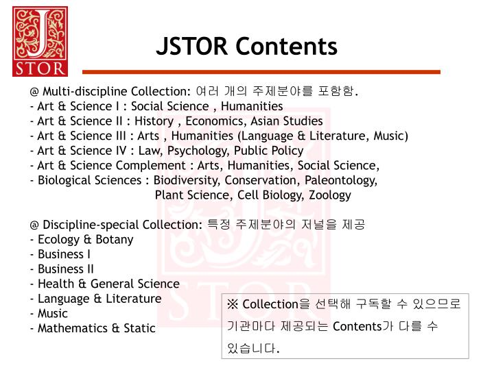 JSTOR Contents