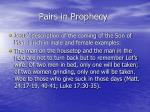 pairs in prophecy