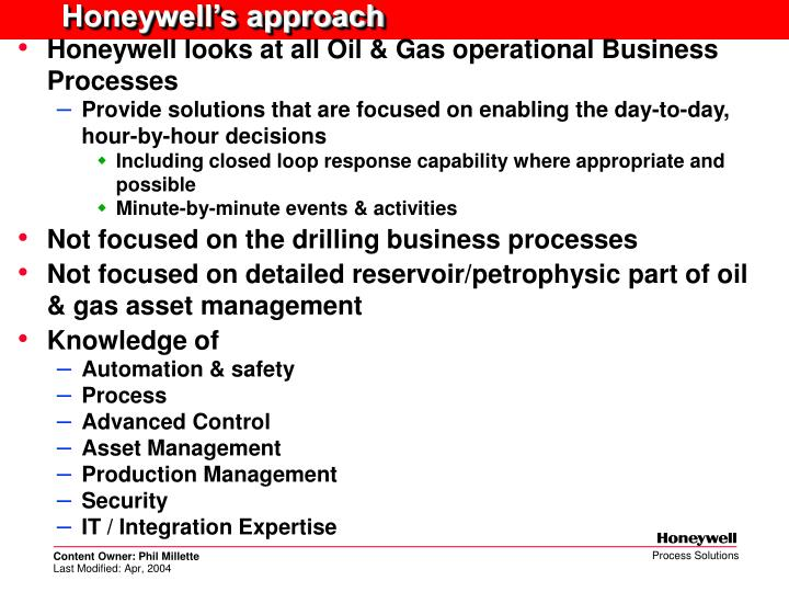 Honeywell's approach