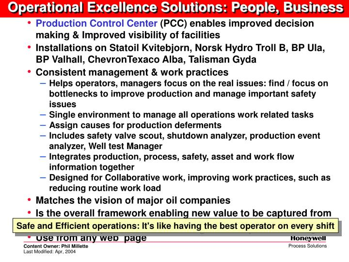 Operational Excellence Solutions: People, Business
