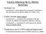 factors affecting hb o 2 affinity summary