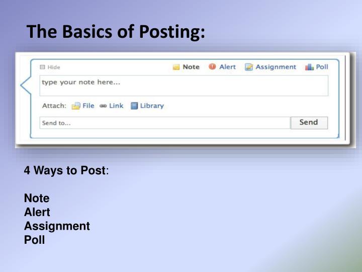 The Basics of Posting: