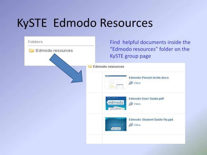 KySTE  Edmodo Resources