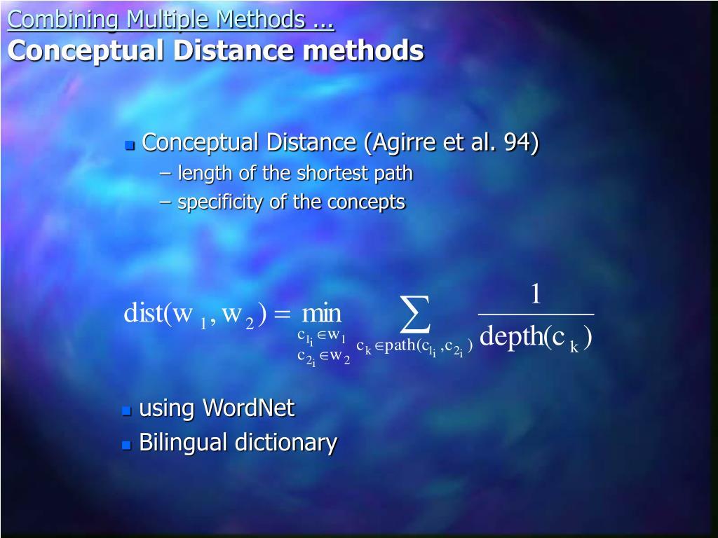 Conceptual Distance (Agirre et al. 94)