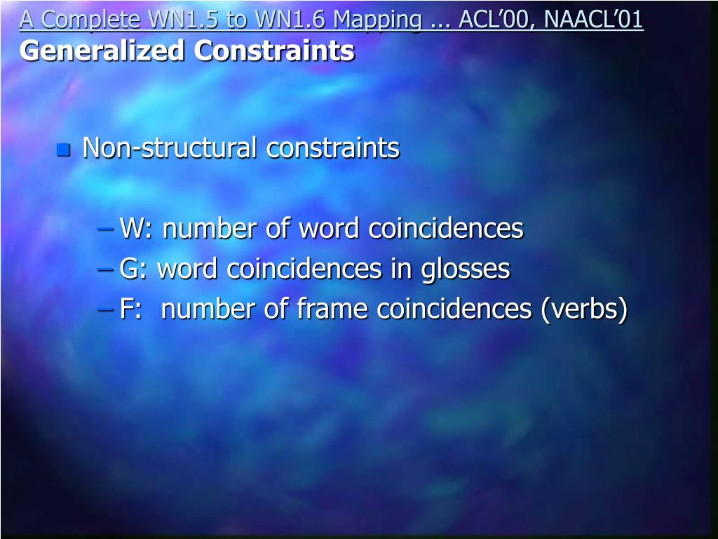 Non-structural constraints