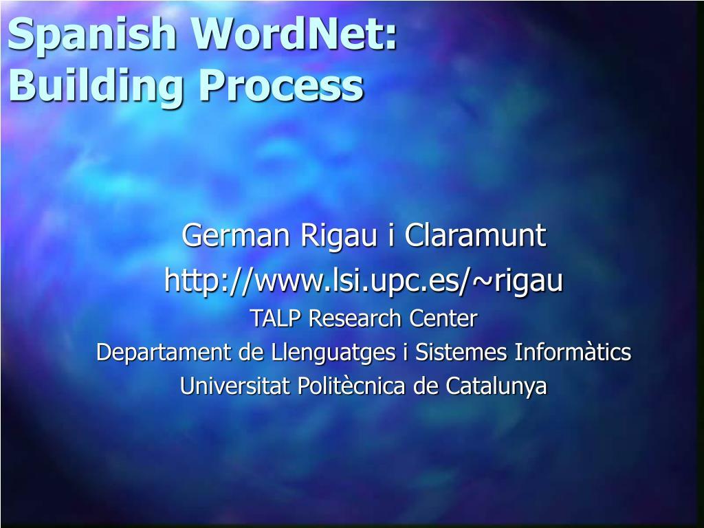 Spanish WordNet: