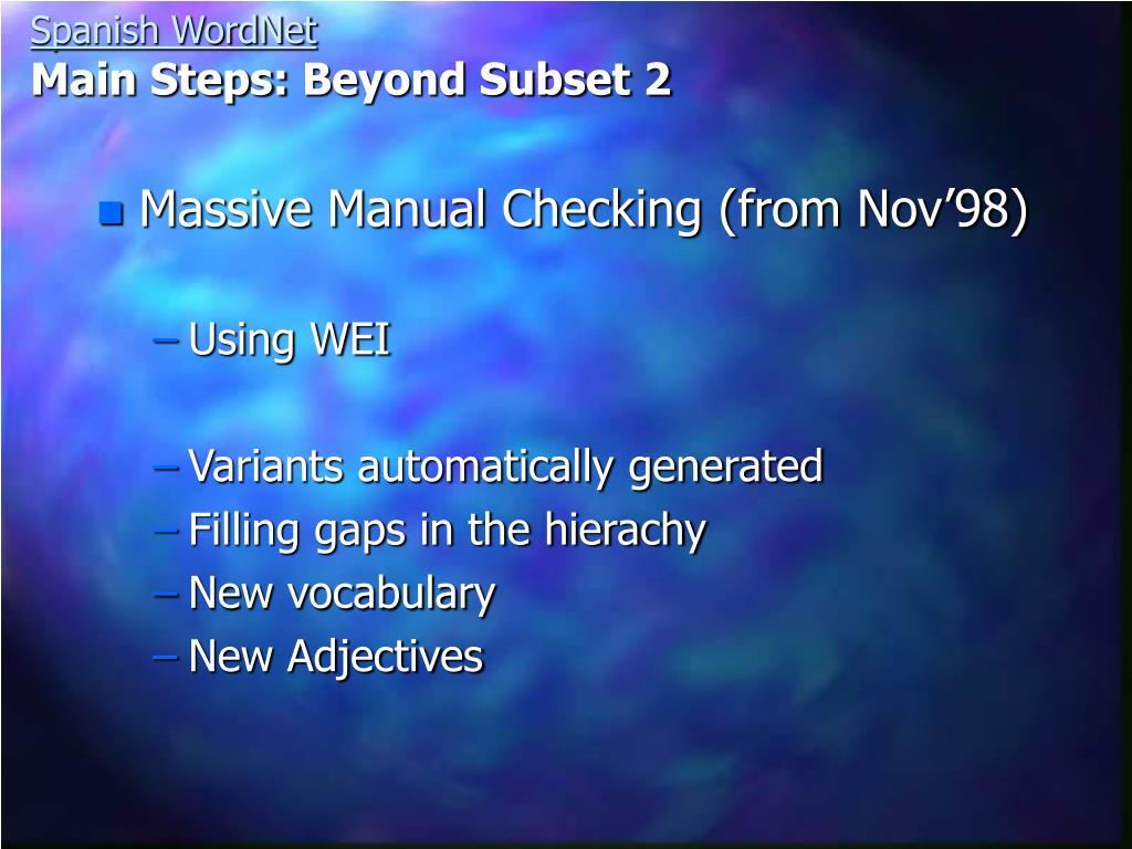 Massive Manual Checking (from Nov'98)