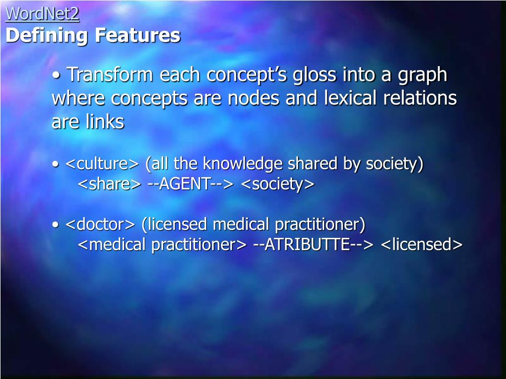 Transform each concept's gloss into a graph where concepts are nodes and lexical relations are links