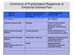 continuum of psychological responses to emotional distress pain