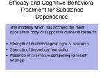 efficacy and cognitive behavioral treatment for substance dependence
