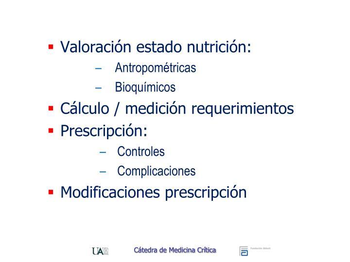 Valoración estado nutrición:
