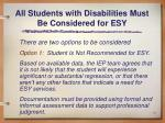 all students with disabilities must be considered for esy