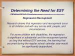 determining the need for esy4