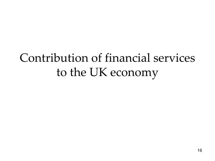 Contribution of financial services to the UK economy
