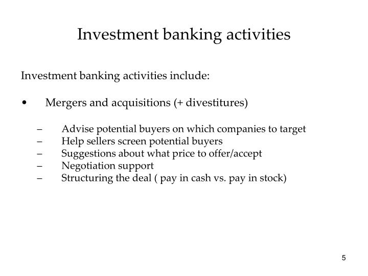 Investment banking activities