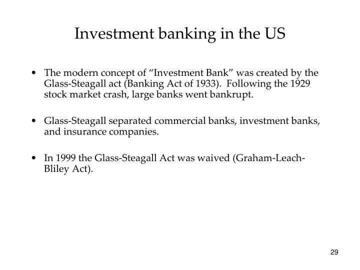 Investment banking in the US