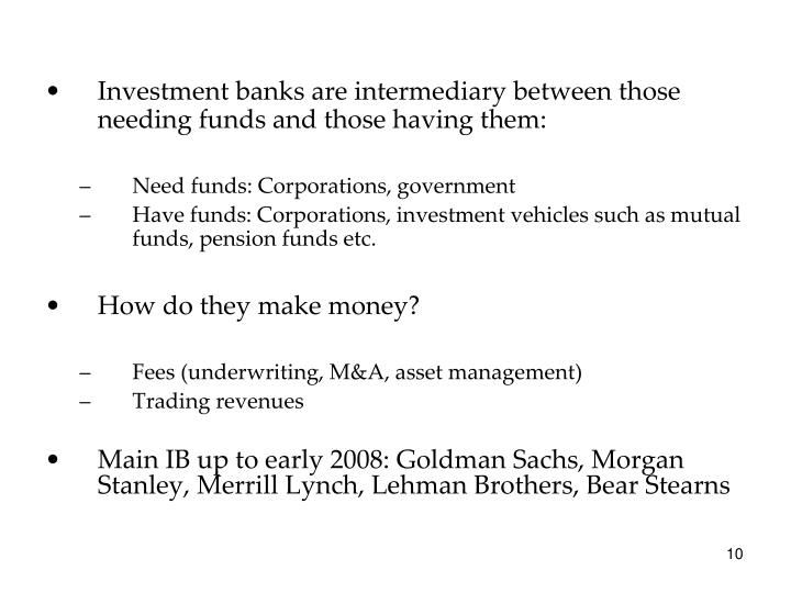 Investment banks are intermediary between those needing funds and those having them: