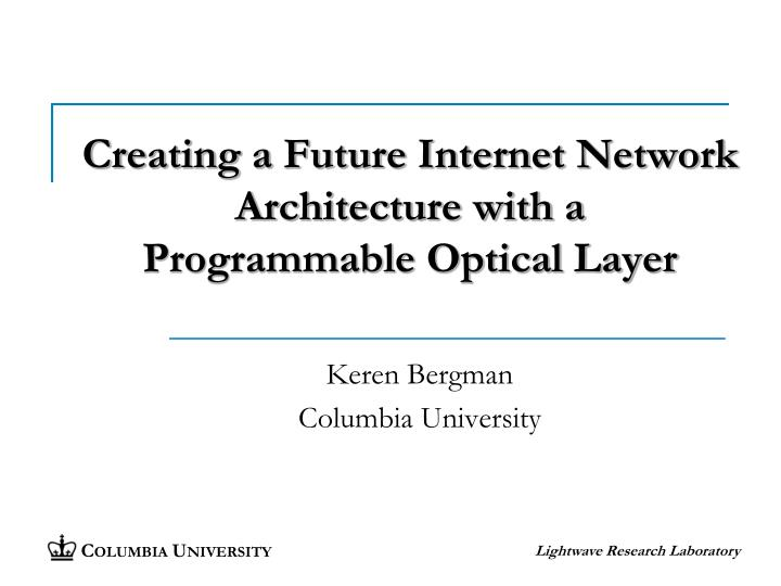 creating a future internet network architecture with a programmable optical layer n.