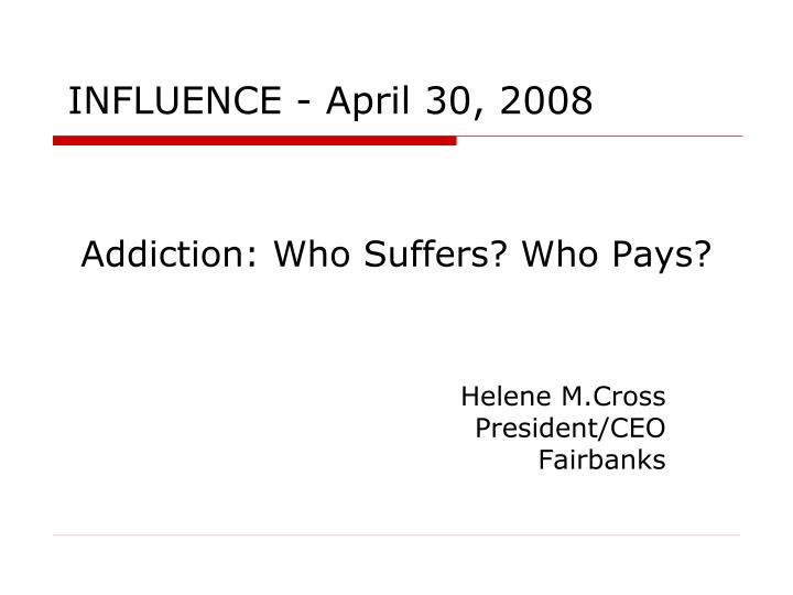 addiction who suffers who pays n.