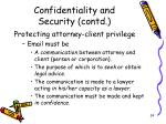 confidentiality and security contd