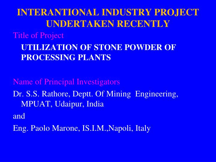 INTERANTIONAL INDUSTRY PROJECT