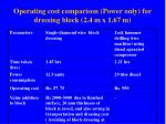 operating cost comparison power only for dressing block 2 4 m x 1 67 m