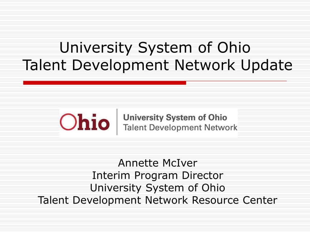 university system of ohio talent development network update l.
