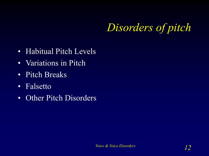 Disorders of pitch