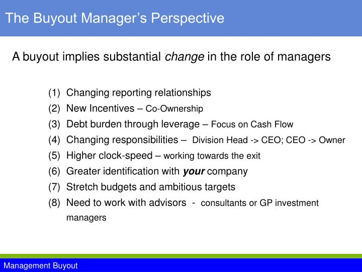 The Buyout Manager's Perspective