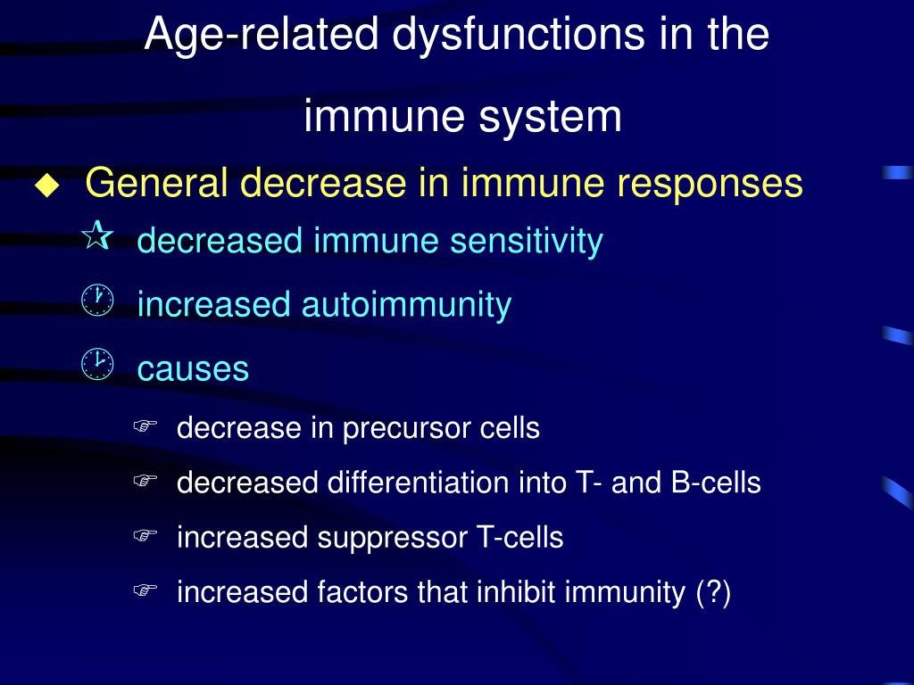 Age-related dysfunctions in the