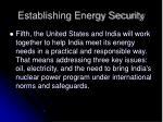 establishing energy security