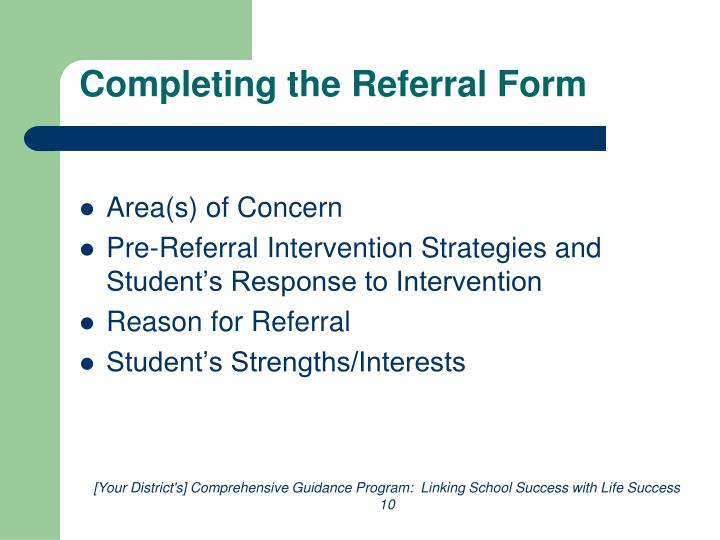 Completing the Referral Form