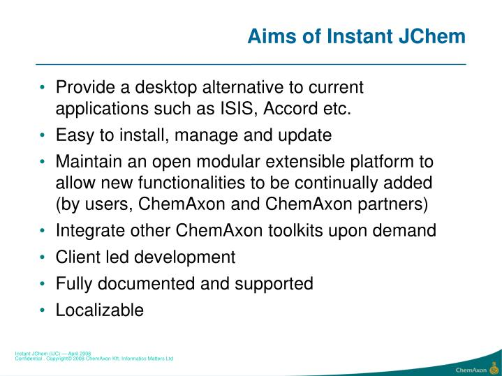 Aims of instant jchem