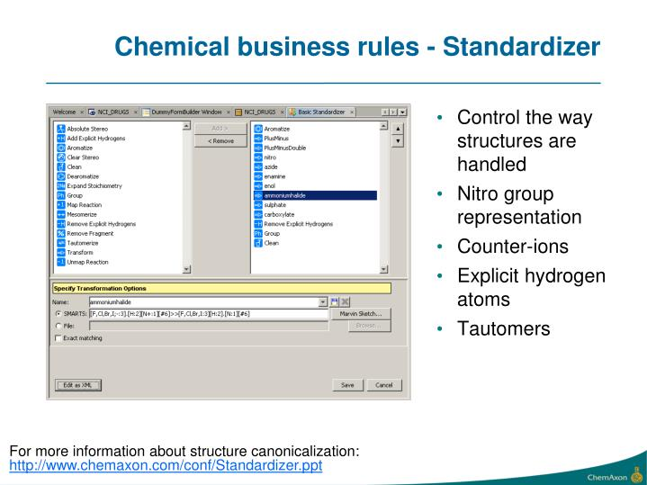 Chemical business rules - Standardizer