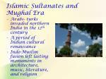 islamic sultanates and mughal era