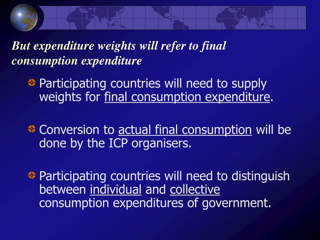 But expenditure weights will refer to final consumption expenditure