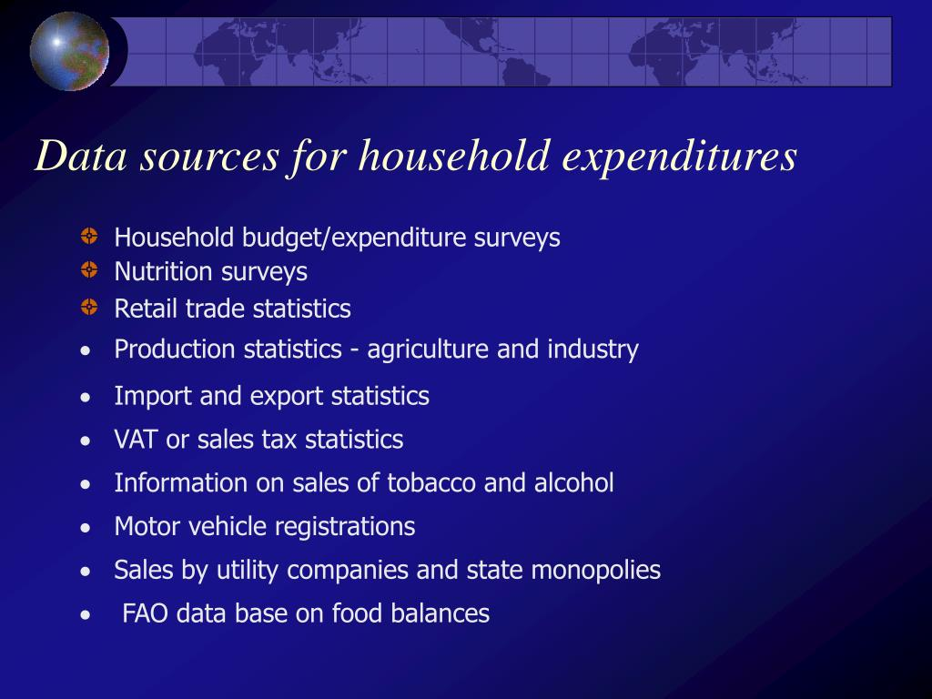 Data sources for household expenditures
