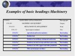 examples of basic headings machinery