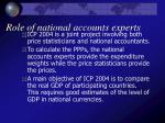 role of national accounts experts