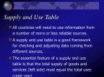 supply and use table