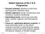 salient features of the v a programme