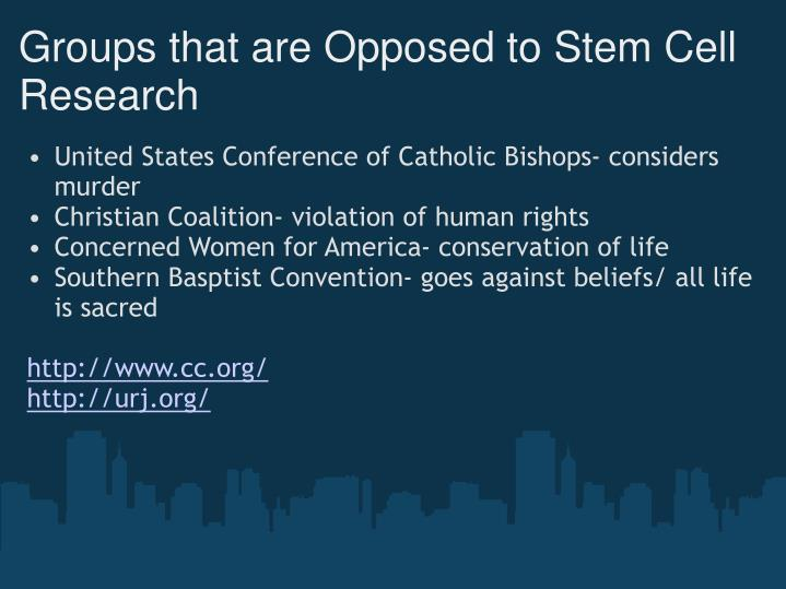 Groups that are Opposed to Stem Cell Research