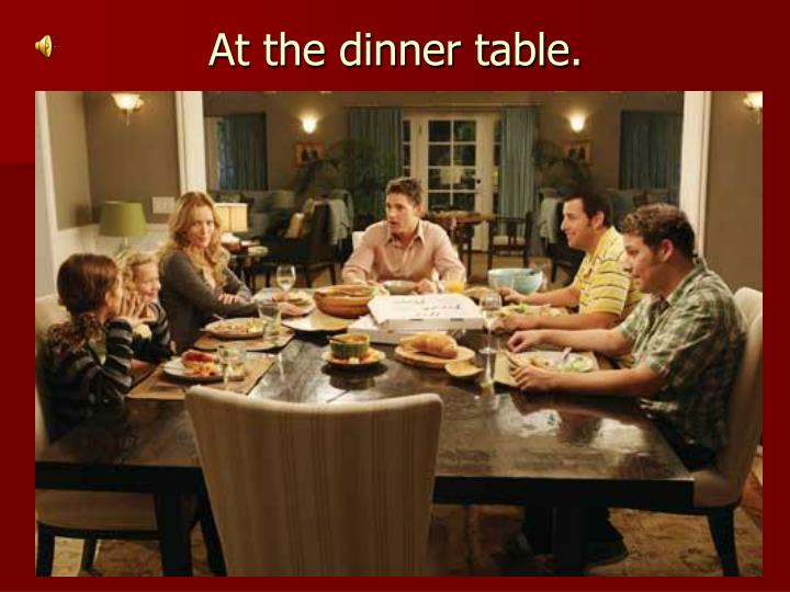 At the dinner table.