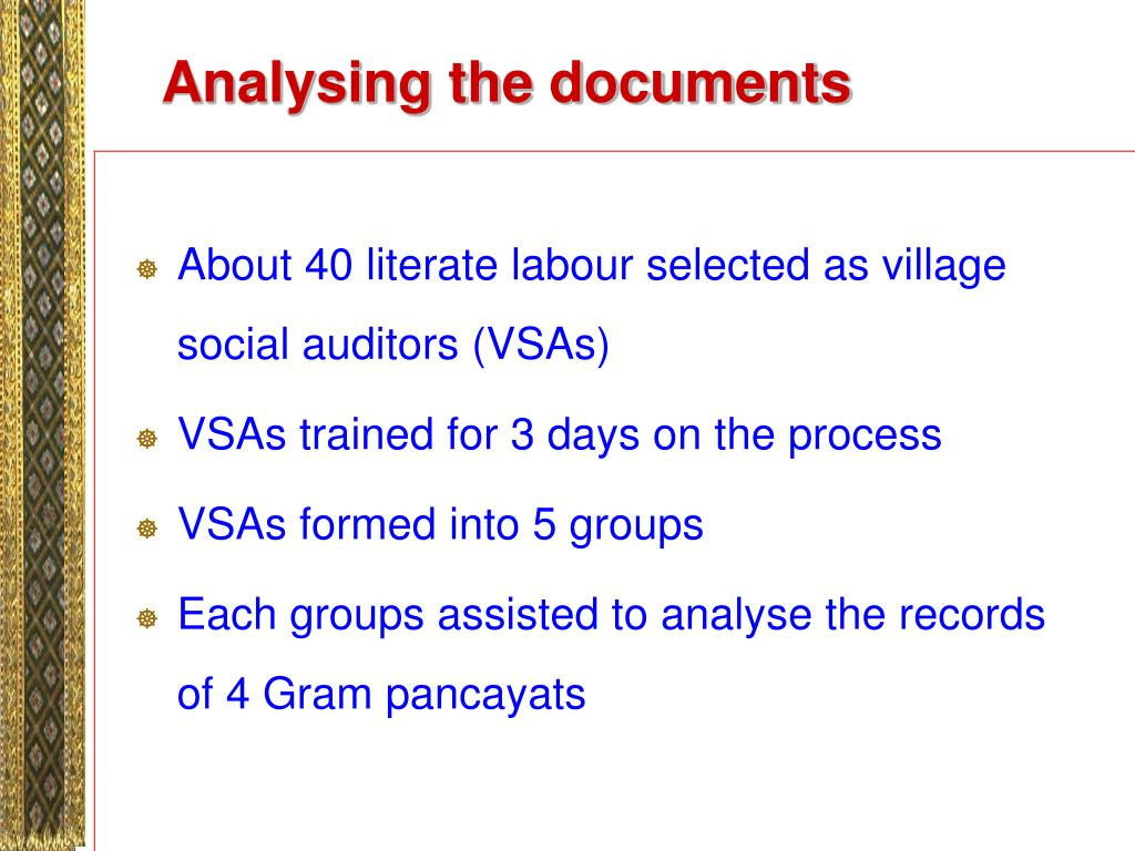 Analysing the documents