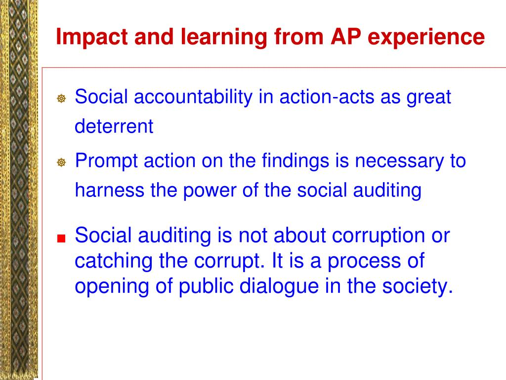 Impact and learning from AP experience