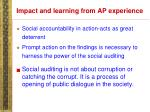 impact and learning from ap experience28