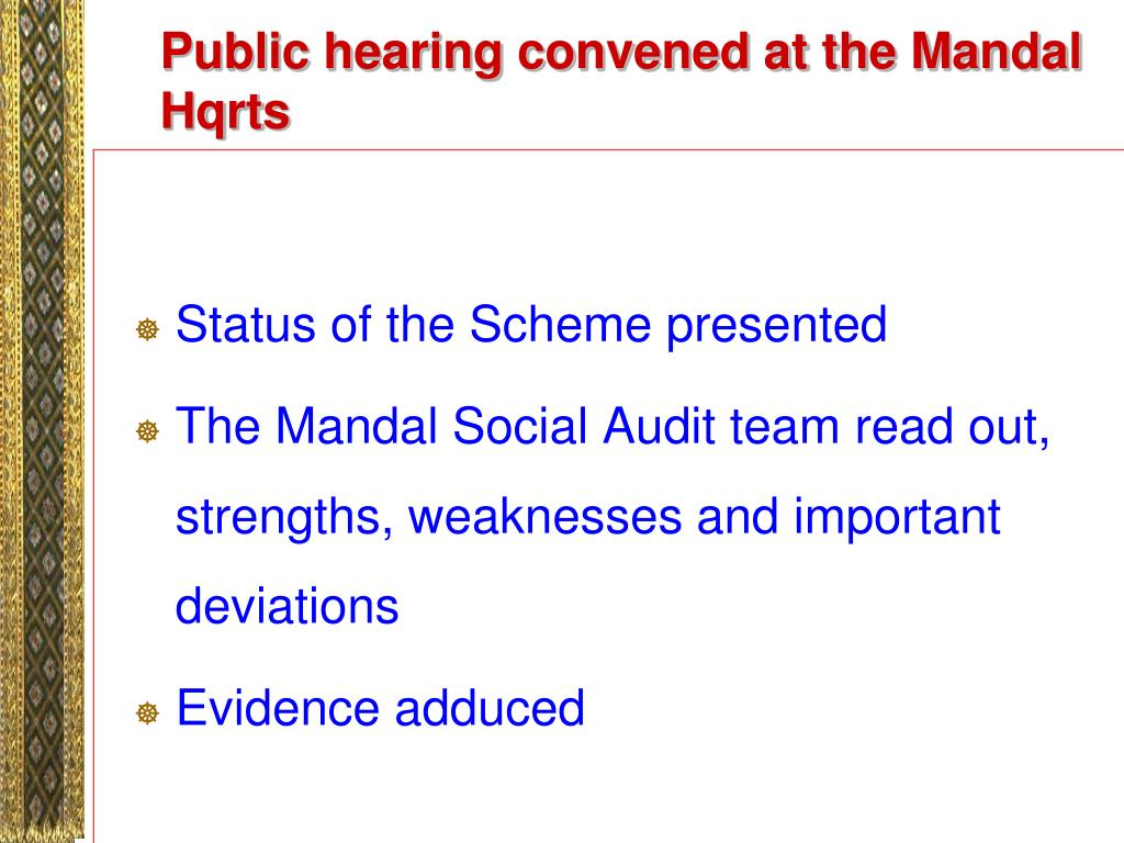 Public hearing convened at the Mandal Hqrts
