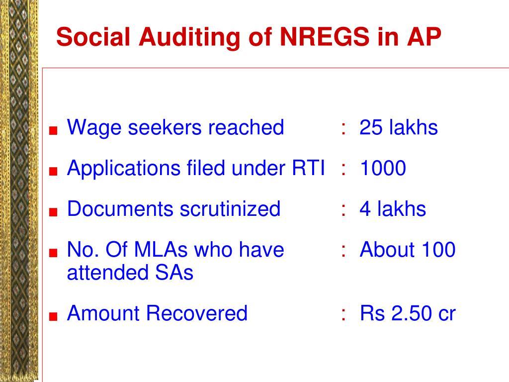 Social Auditing of NREGS in AP