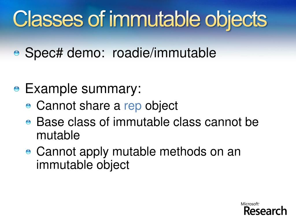 Classes of immutable objects